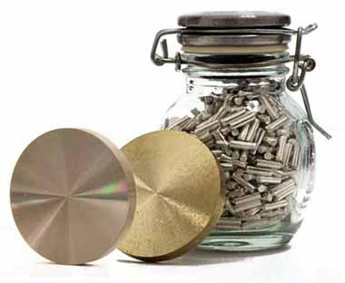 gold germanium target and jar of pellets
